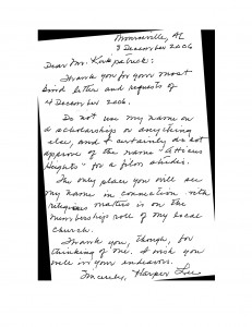 Harper Lee's Letter to David Kirkpatrick in Travels in Transmedia