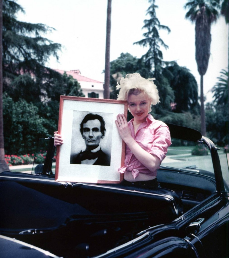 Marilyn Monroe with Portrait of Abraham Lincoln