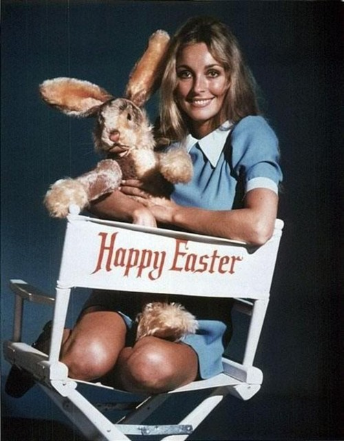 Sharon Tate in School Girl Clothes with plush Easter Bunny.